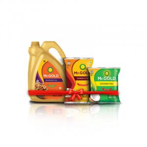 Mr. Gold Tasty Combo (Groundnut Oil 5L, Gingelly Oil 1L, Coconut Oil 500ml) - Total 6.5L